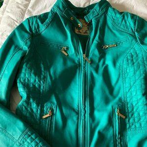 Turquoise moto jacket. Like new.